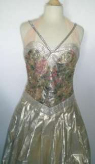 ROSE TAFT FLORAL BROCADE GOLD METALLIC LONG evening GOWN DRESS 4 6