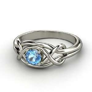 Infinity Knot Ring, Round Blue Topaz Platinum Ring Jewelry
