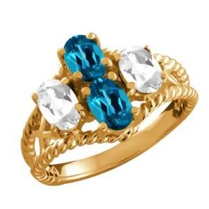 Genuine Oval London Blue Topaz Gemstone 14k Yellow Gold Ring Jewelry