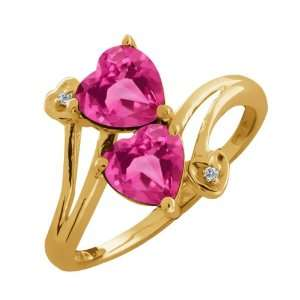 Ct Genuine Heart Shape Pink Mystic Topaz Gemstone 10k Yellow Gold Ring