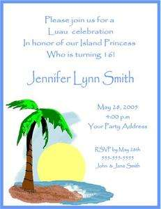 Luau Palm Tree Tropical Birthday Party Invitations Custom
