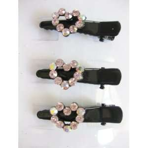 3pc Pink Rhinestone Hearts Black Metal Hair Clips For Girls Beauty