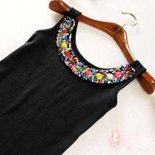 Candy Colors Sexy Women Multi color Beads Neckline Vest Tank Cami