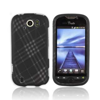 For HTC Mytouch 4g Slide Gray Plaid Black Rubber Hard Shell Case Cover