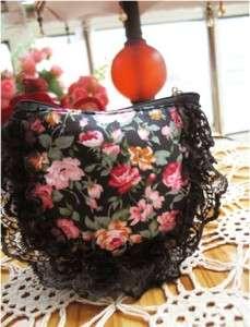 Beautiful Hand Silk Ribbon Pink Rose Lace Bag Pouch