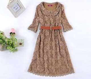 XL 4XL Womens lapel 3/4 sleeve lace flower print mini dress QB9862