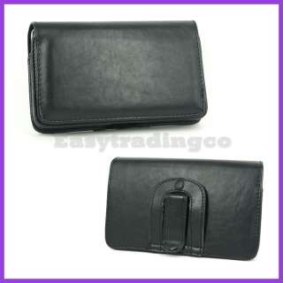 Black Leather Case Pouch Samsung Galaxy Note i9220 GT N7000 Belt Clip