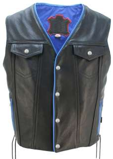 MADE IN USA DENIM STYLE LEATHER MOTORCYCLE BIKER VEST BLUE TRIM 1.4 1