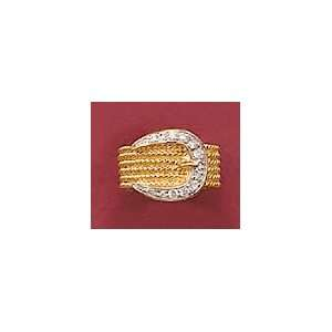 14K Gold/Rhodium Plated Sterling Silver Belt Ring, Cubic Zirconia, 9