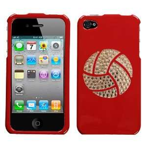 Bright Flaming Red and White Crystal Rhinestone Bling Bling Volleyball