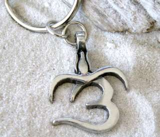 OHM OM yoga BUDDHA BUDDHIST Pewter KEYCHAIN Key Ring