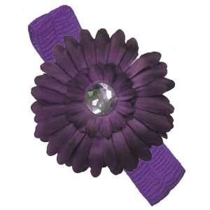 Purple Stretchy Baby Headband with Purple Daisy Flower