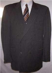 CHARCOAL BROWN 100% WOOL DB sport coat jacket suit blazer men