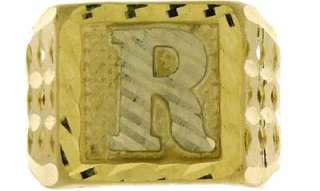 MENS 10K YELLOW GOLD INITIAL LETTER R SQUARE RING