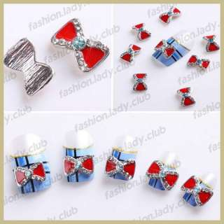 10 x Red Alloy Rhinestones 3D Bow Tie Nail Art Beads Slices DIY
