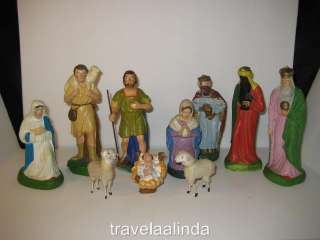 Vintage German nativity set paper mache 12 pcs total matchstick lambs