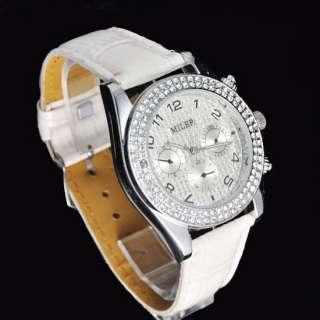 Decorated Chrono Crystal Diamond Quartz Wristwatch Leather Luxury UK