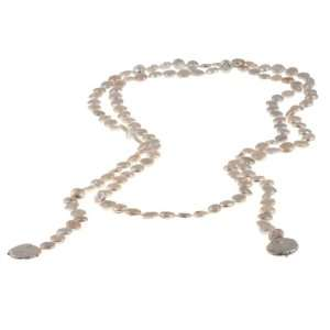Nanni White Freshwater Pearl 60 inch Lariat Necklace (10 mm) Jewelry