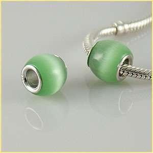 Pandora style natural cat eye bead green