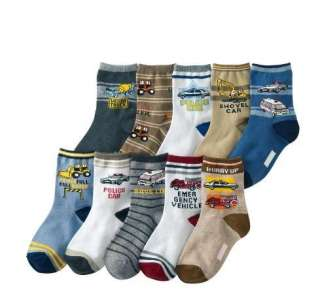 Set 10 Boys Working Vehicles Collection Socks 3 5T/5 8T