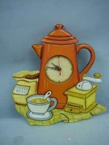 Coffee Themed Handpainted Wooden Quartz Wall Clock