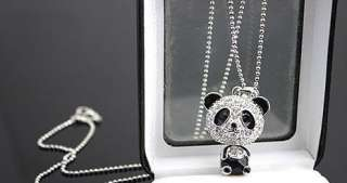 Cute Full of Crystals Panda Charm Pendent Necklace