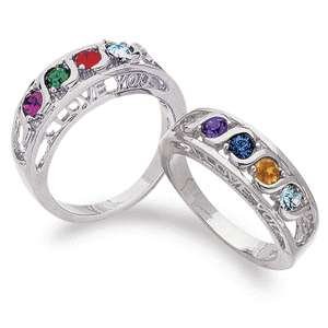 PERSONALIZED PLATINUM PLATED MOTHERS RING