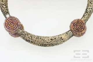 Mary Frances Purple Snake Print & Beaded Flower Evening Handbag