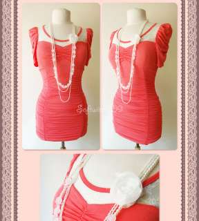 NEW Bright Coral/Ivory Floral Lace Inset Puff Slv Bodycon Ruched Dress
