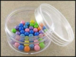 Large Clear Plastic Round Bead Storage Containers (Set of 6)