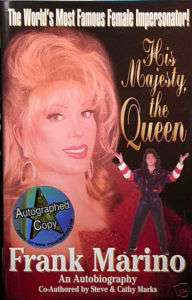 Female Impersonator FRANK MARINO AUTOGRAPH Signed Book
