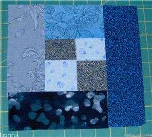 MOCK LOG CABIN! BLUE, QUILTING BLOCK KIT   16 BLOCKS
