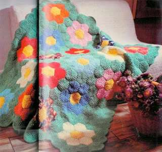 Grandmothers Flower Garden Patchwork Crocheted Afghan
