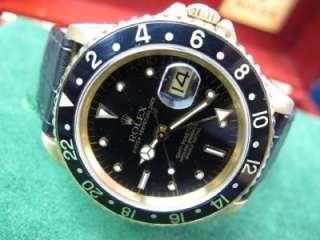 Rolex GMT Master 18kt Yellow Gold Date Watch Ref 16758 w/ Box