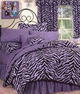 ZEBRA Purple 8pc Queen Bed in Bag comforter set Animal
