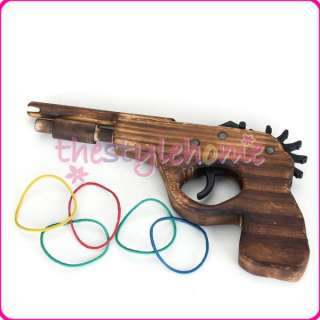 Wooden Rifle Rubber Band Hand Gun Shooter Shooting Toy