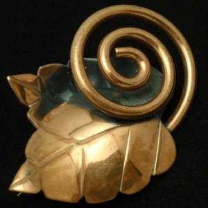 Rebajes Double Leaf Coiled Stem Brooch Pin Vtg Copper