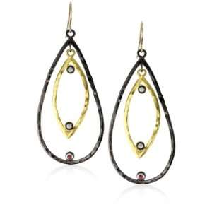 Misha Two Tone Double Tear Drop Topaz Accents Earrings