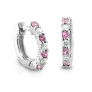 18k White Gold Natural Pink Sapphire Diamond Hoop Earrings