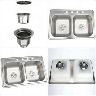 18 Gauge Durable Stainless Steel Double Bowl Top Mount Kitchen Sink