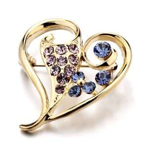 Purple Blue Crystal Gold Heart Brooches And Pins Pugster