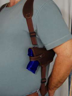 Brown Leather Shoulder Holster w/Double Magazine for CZ 75 75D PCR