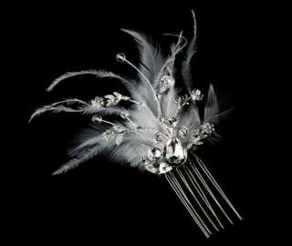 Dazzle White Feather Bridal Hair Comb Wedding Hair Accessories