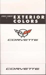 2003 03 Chevy Corvette Color Chart Pamphlet Brochure