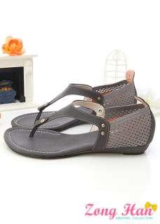 Elastic T Strap Flat Sandals Shoes Brown Beige Gray