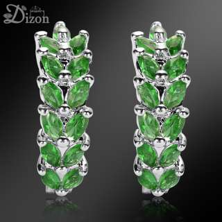 OVAL CUT GREEN EMERALD WHITE GOLD GP EARRINGS EARINGS