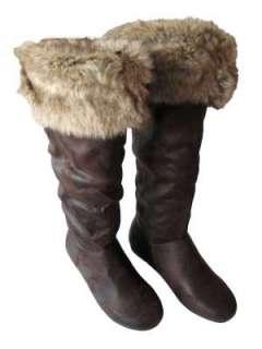 New Womens Winter Flat Faux Fur Boots Sizes 3 8