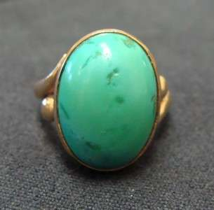 Antique Lady 14k Yellow Gold Green Turquoise Ring 6.2g
