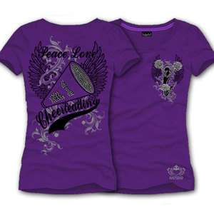 KATYDID SHIRT, Peace, Love, CHEERLEADING Shirt PURPLE, (L) LARGE