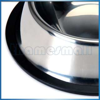 4SZ Stainless Steel Food Bowl & Rubber Ring Pet Dog Cat